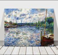 "RENOIR - Boat on the Siene River - CANVAS ART PRINT POSTER - 24x16"""