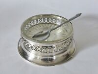 1930 Silver Plated Laticework Jam / Butter Dish with Glass Liner & Apostle Spoon