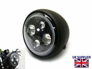 "Motorcycle LED Headlight 7.7"" Halo Projector for Cafe Racer Matt Black BLEMISHED"