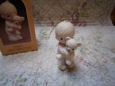 Precious Moments Ornament Babys First 1st Christmas Boy w/ Bear 1980 1981 1982