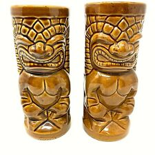 Pair of Tiki Mugs Maikai Angry Cup Dark Brown