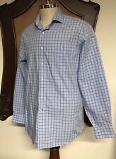 Tommy Hilfiger Dress Shirt Men's 16 34/35 REGULAR Fit Plaid Checks BLUE EUC Nice
