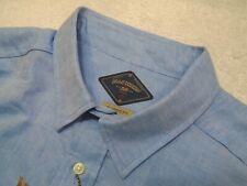 Bills Khakis Linen Cotton Blend Arcadia Oxford Blue Sport Shirt NWT XXL $155