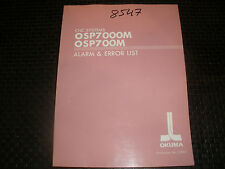 Okuma Osp7000M/700M Control Alarm & Error Manual