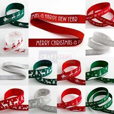 Christmas Grosgrain Ribbon 16mm Wide 1m Lengths / Full Roll Bow Making Craft