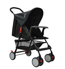 BABY PUSHCHAIR LIGHTWEIGHT BABY STROLLER BABY BUGGY BLACK + FREE RAIN COVER