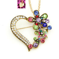 Betsey Johnson Women's Crystal Flower Heart Pendant Chain Necklace/Brooch Pin