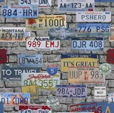 Tapete Route 66 USA Blechschild grau bunt Jugend Tapete 05587-10 (1,48€/1qm)