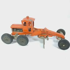 "Hubley Diesel Road Grader Orange Diecast Pressed Steel12.5"" long"