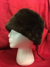 Brown Faux Fur By City Paris-San Francisco Pillbox Hat Winter Classy Vintage