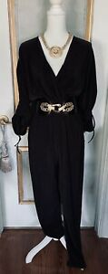 NWT Black Pleated Flowy Jumpsuit size L