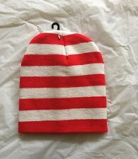 Red And White Stripe Knitted Beanie Winter Warm Casual Fashion Ski Sport Hat