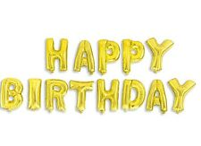 UP Celebrations - SHINY Gold Foil HAPPY BIRTHDAY Balloons Banner 16-inch