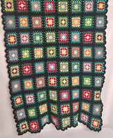 """Vintage Granny Square Afghan Crocheted Blanket Retro Roseanne Couch Throw 48x74"""""""