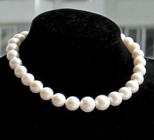 "real natural south sea white pearl necklace gold CLASP charming AAA 18"" 12-13mm"