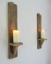PAIR OF 50CM RECLAIMED PALLET WOOD SHABBY CHIC WALL SCONCE LED CANDLE HOLDERS