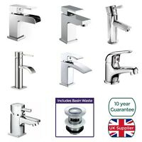 Cloakroom Chrome Luxury Bathroom Modern Basin Sink Mono Square Mixer Tap & Waste