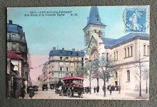 CPSM. LEVALLOIS PERRET. 92 - Rue Rivay et La Nouvelle Eglise. 1927