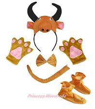 3D Brown Cow Halloween Headband Bow Tail Paw Shoes Kids 5pc School Party Costume