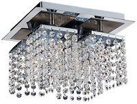 TP24 6554 métro LEYTON 4 x 3W G40 del assiette cristal Lumière Plafond Chrome