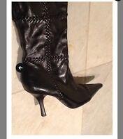 bcbg max azria wane black leather high heel wedge boots