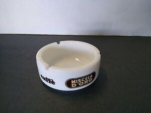 White Milk Glass Ashtray Micela D'Oro Caffe Coffee Made in Italy