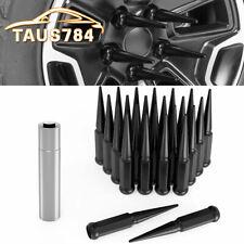 """24 PC Black Spike Lug Nuts 14x1.5 for Chevy Suburban 1500 Tahoe 4.4"""" Tall w/ Key"""