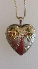 Heart Locket Necklace Sterling Silver Princess Pride Pendant Egraved Floral