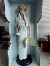 Princess Diana Porcelain Doll White Gown & Jacket W/ Pearls Franklin Mint
