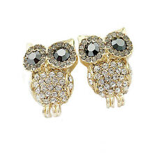 Contemporary Adorable Gold Tone Jet Crystal Owl Earrings