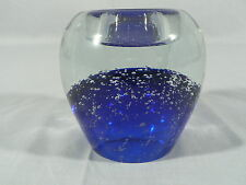 Crystal Paperweight Desk Caddy Votive Candle Holder Blue bubbles