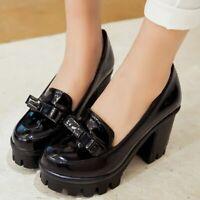 Ladies Chunky Heels Bowtie Slip on Pumps Mary Jane Lolita Thick Platform Shoes