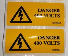 2 x Yellow Self Adhesive label DANGER 400 VOLTS 80mm x 35mm