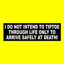"""New """"I DO NOT INTEND TO TIPTOE THROUGH LIFE"""" fearless BUMPER STICKER, courage"""