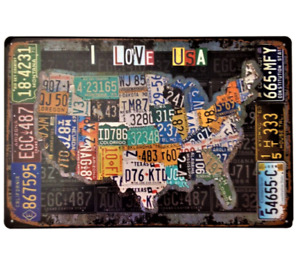 RETRO METAL WALL SIGN TIN PLAQUE VINTAGE STYLE GARAGE ROUTE 66 USA CAR US GIFT