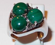 Malachite and Green Diamond ring (10ct) in platinum bond. Size P.