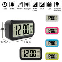 Digital LCD Snooze Electronic Alarm Clock with LED Backlight Light Control UK