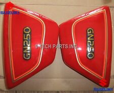 Right & Left Frame Side Cover Panels Red with EMBLEM For Suzuki GN 250 GN250