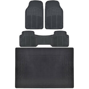 Car Floor Mats with Trunk Mat Black 4 Piece Odorless Trunk Mat 4 Piece