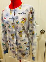 Womens SB fashion scrubs long Sleeve Scrub Top Size Small Christmas bear snowman