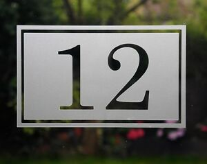 Traditional rectangular border house number sticker Etched glass - various sizes