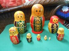 Beautiful Set of 9 VINTAGE  Nesting RUSSIAN Dolls ......SALE... FREE POSTAGE USA
