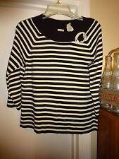 Emma James a Liz Claiborne Co XL Black & White Sweater 3/4 Sleeve L@@K