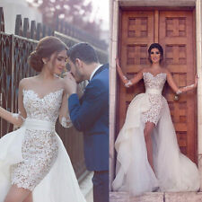 Sexy Detachable Train Sheath Beach Wedding Dresses White Lace Bridal Gowns 2018