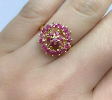 14k Solid Yellow Gold Cluster Ring Natural Ruby, Sz 8.25. 2.80 Grams