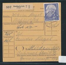 94053) Paketkarte Heuss, EF 2DM Dahlerbrück (Westf) - Hilden, Michel 90€