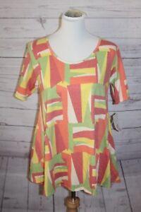 LULAROE Perfect T Blouse Art Deco Pink Yellow Orange Color Block Size XS New