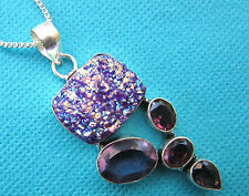 925 Sterling Silver Pendant With Natural Titanium Druzy And Amethyst (nk1388)
