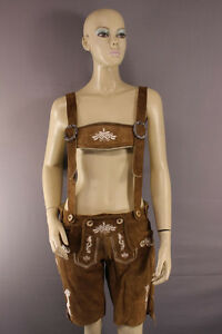 WOMENS GERMAN BAVARIAN OKTOBERFEST EMBROIDERED LT BROWN SUEDE LEATHER LEDERHOSEN