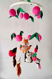 Hand Made spring season Animals theme Baby COT MOBILE with felt material gift